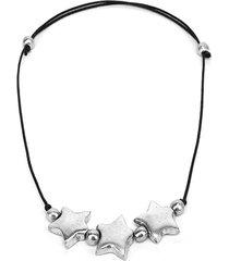 collar de mujer plateado aluminio-negro court etoile by vestopazzo