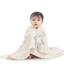 manta cobertor para bebê ursinho xadrez soft microfibra amarelo - kanui