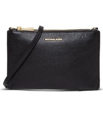 pebbled leather double-pouch crossbody michael michael kors