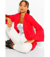 extreme puff sleeve double breasted blazer, red
