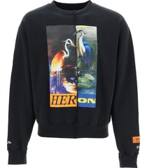 heron preston split herons crew neck sweatshirt