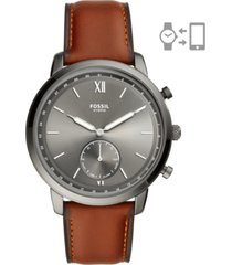 fossil men's neutra brown leather strap hybrid smart watch 44mm
