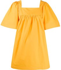 three graces sofia wide-sleeve mini dress - yellow