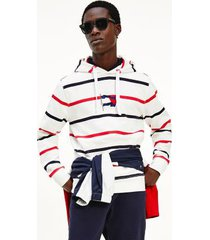 tommy hilfiger men's organic cotton wavy flag stripe hoodie ecru/desert sky/primary red - l