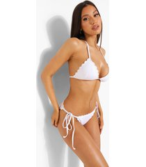driehoekige witte bikini top met geribbelde zoom, white