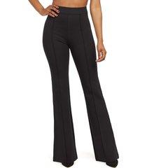 women's spanx flare ponte pants, size large - black