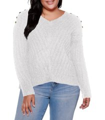 belldini black label plus size v-neck rib knit sweater with embellishment