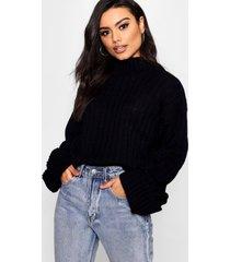 geribbelde maxi trui met wijde mouwen, zwart