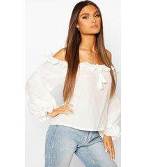 cotton ruffle oversized blouse, white