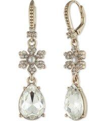 marchesa gold-tone crystal & imitation pearl flower drop earrings