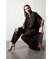 natori osaka sweater knit straight leg pants, women's, silk, size l