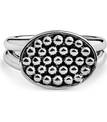 women's lagos signature caviar horizontal ellipse ring