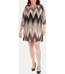 ny collection plus size chevron-print keyhole shift dress