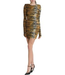 alexandre vauthier tiger printed mini dress