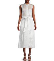 vince women's stripe gauze sleeveless shirtdress - optic white - size l