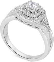 diamond tiered halo bridal set (5/8 ct. t.w.) in 14k white gold