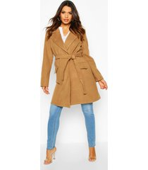 maternity belted wool look coat, camel