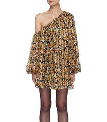 'imbalance' floral print off-shoulder pleat dress