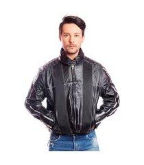 jaqueta casaco couro para motociclista moto com air bag esportiva esporte preto
