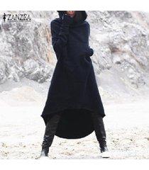 zanzea otoño las mujeres de manga larga con capucha suelta kaftan capa de la chaqueta más el tamaño de vestido más del tamaño -azul marino
