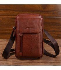 vera pelle multi-funzionale 6/7 pollici telefono borsa vita borsa crossbody borsa per gli uomini