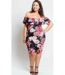off shoulder floral print plus size dress