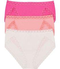 natori bliss french cut briefs 3 pack panty, women's, 100% cotton, size xs