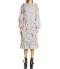 women's comme des garcons long sleeve georgette midi dress, size small - grey