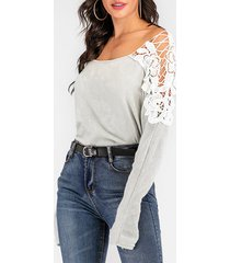 crocheted lace panel dolman sleeve sweater