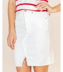 falda white denim