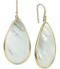 argento vivo mother-of-pearl teardrop drop earrings in gold-plated sterling silver