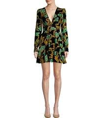 floral silk a-line ruffled dress