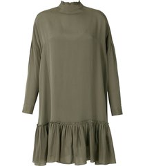 eva frufru silk mini dress - green