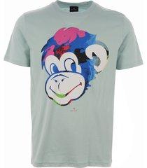 ps by paul smith monkey print t-shirt - light green m2r-011r-ap1121
