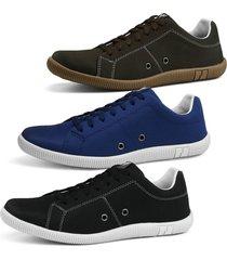 kit sapatenis sapatofran 3 pares cafã© azul e preto - azul - masculino - dafiti