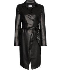 nanushka ailsa vegan leather belted dress - black