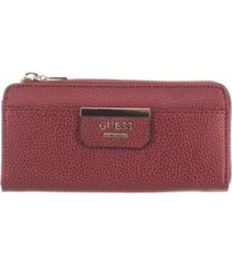 billetera guess bobbi slg slim zip wallet para mujer-vino