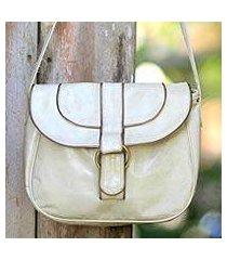leather shoulder bag, 'denpasar chic' (indonesia)
