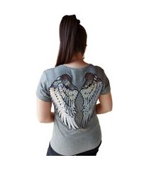 blusa asas bordado paetê aplicação t-shirts em malha