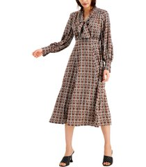 inc plus size printed tie-front midi dress, created for macy's