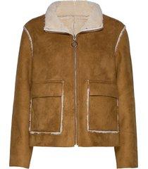scherly jacket läderjacka skinnjacka brun cream