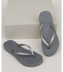 chinelo feminino havaianas slim flatform cinza
