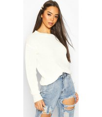 fisherman crew neck sweater, ivory