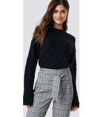 na-kd trend alpaca wool blend round neck sweater - black