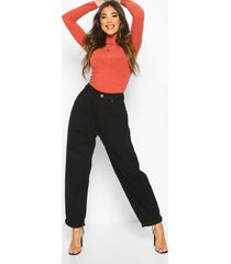 high rise dad jeans, black