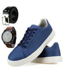 kit sapatênis casual sapatofranca com cadarço e mais cinto e mais relógio azul