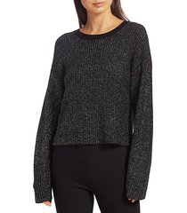 rag & bone women's jubilee metallic merino wool-blend sweater - black - size m
