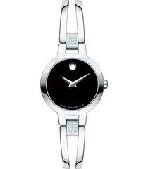 movado amorosa diamond bangle watch, 24mm in silver/black/silver at nordstrom