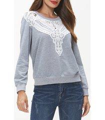 lace insert long sleeve sweatshirt