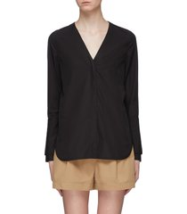 belted back faux pearl button cuff shirt